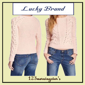 Lucky Brand Cable Knit Crew Neck Sweater Top S